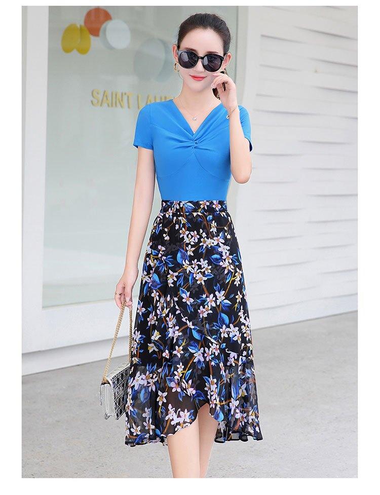 FINDSENSE G5 韓國時尚 雪紡 連身裙 夏季 新款 修身 顯瘦 中長款 碎花 裙子