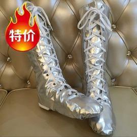 銀色29特價兒童成人漆皮高幫舞蹈靴爵士靴舞蹈表演靴銀色舞臺靴高筒舞鞋