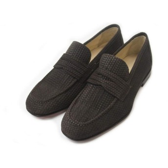[フィット] メンズ イタリア ブランド イントレチャート レザー スウェード スリッポン ローファ シューズ 靴 革靴 ダークブラウン イタリア製 EUROPA PICCOLA (41.5, DARK BROWN(03))