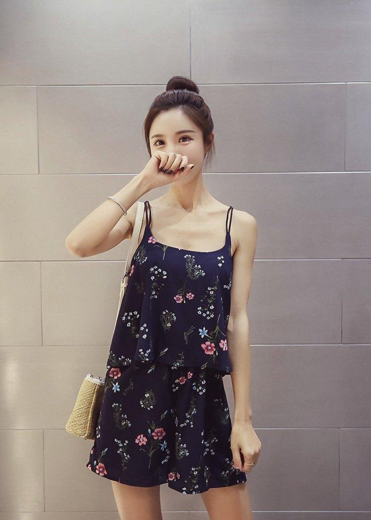 FINDSENSE G5 韓國時尚 吊帶 背心 碎花 雪紡 連身褲 假兩件 連體短褲