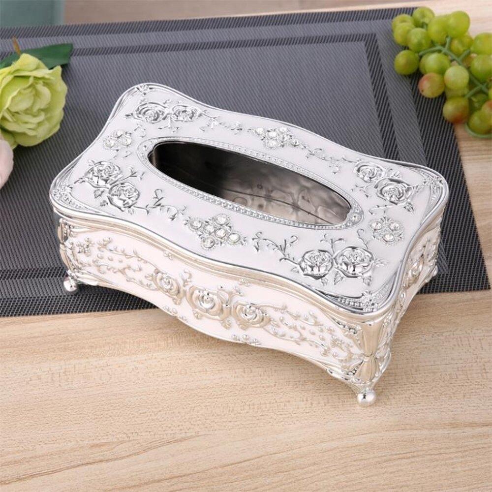紙巾盒紙巾盒歐式客廳創意抽紙盒奢華家用紙抽盒KTV茶幾簡約可愛餐巾盒 免運