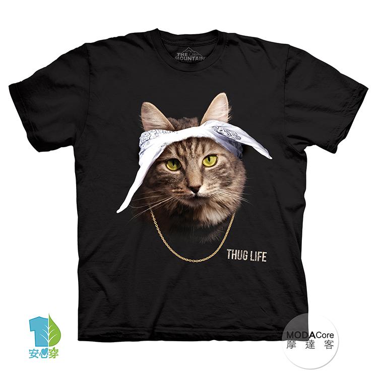 【摩達客】(預購)美國進口The Mountain 頭巾饒舌貓 純棉環保藝術中性短袖T恤