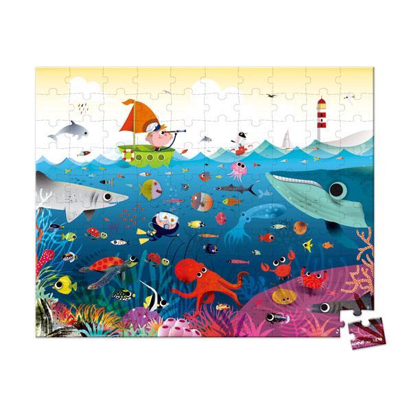 【法國 Janod】厚片拼圖-海底世界100pcs J02947
