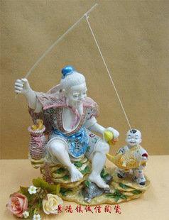 景德鎮陶瓷 樹脂工藝品 姜太公釣魚 幸福歸來 藝術擺設 送禮
