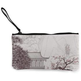 中国の宗教ビル桜の木と山小銭入れ マネークリップ 財布 キャンバスコインケース 薄型 大容量 私のためのポーチとケース カード収納 パスケースにも/ギフトボックスセット 人気 コインケース カードケース 札入れ ファスナー