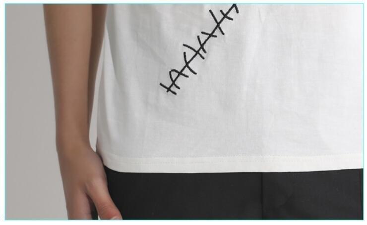 FINDSENSE MD 韓國 男 街頭 時尚 白色 特色縫補 補丁刺繡 夜店髮型師 潮人款 打底衫 特色短T