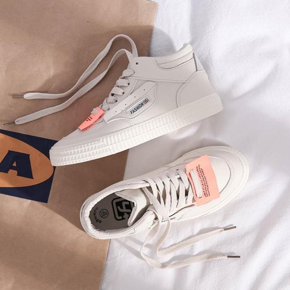 港風chic鞋子新款嘻哈高筒帆布鞋女韓版ulzzang百搭學生板鞋