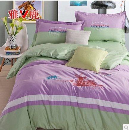 雅鹿家紡 全棉四件套床純棉純色素色公主套件家居床品