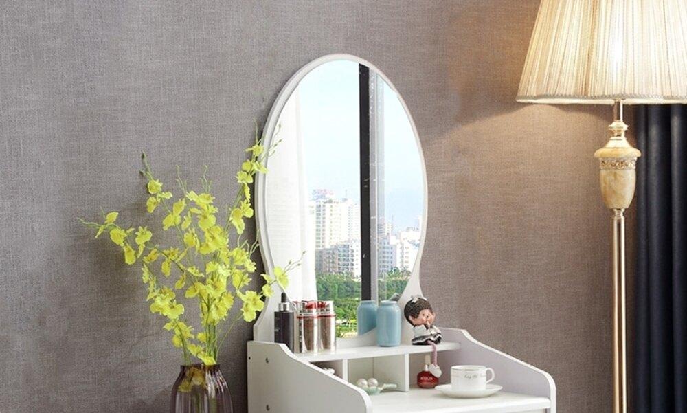歐式梳妝台臥室現代簡約迷你50cm多功能經濟型小戶型收納柜化妝桌ATF 錢夫人小舖