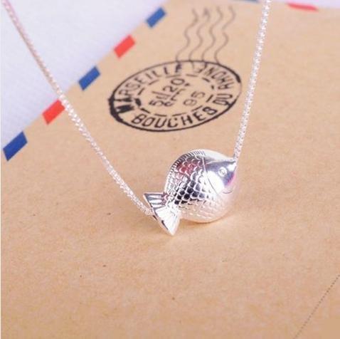 銀飾銀項鏈 女可愛小魚吊墜 情人節禮物短款鎖骨