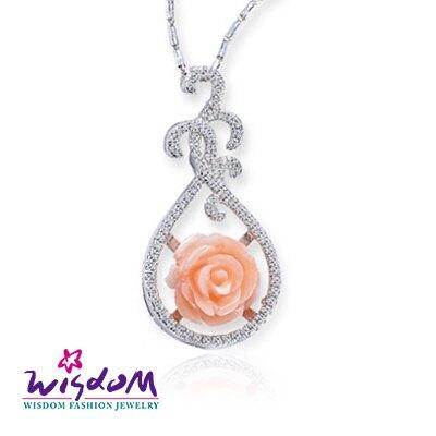 威世登 珊瑚銀墜-天然海洋紅珊瑚 時尚粉紅玫瑰墜飾(不含鍊)-情人禮、生日禮、流行款、熱銷款- CD00098-EEXX