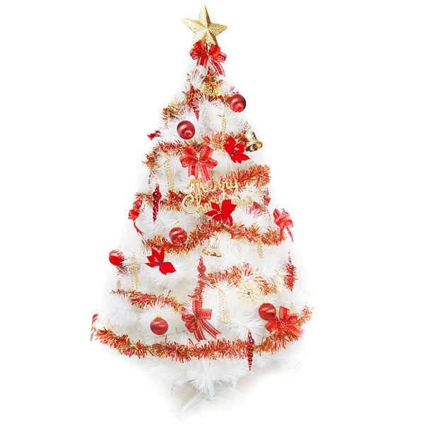 摩達客 台灣製10呎/10尺 (300cm)特級白色松針葉聖誕樹 (紅金色系)+100燈LED燈6串(附控制器跳機)YS-WPT010301