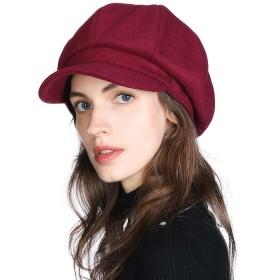 帽子 レディース キャスケット 婦人帽子 キャップ 秋冬 小顔効果 フリーサイズ 自転車 かわいい おしゃれ カジュアル 無地 Mサイズ 赤