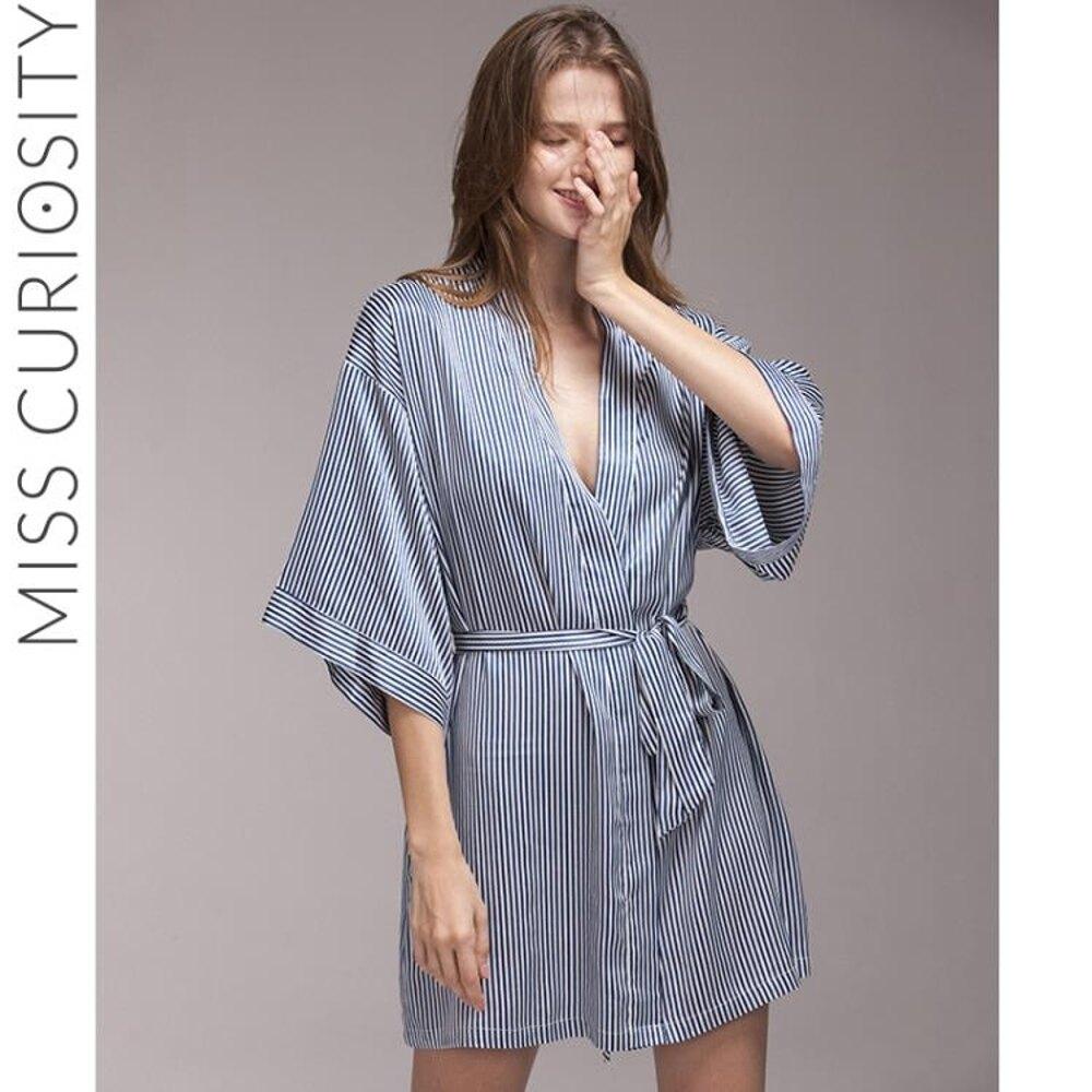 和式繫帶女士睡袍V領絲質細條紋寬袖中袖性感浴袍睡衣夏 DF 清涼一夏钜惠