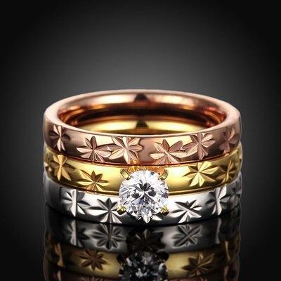 鈦鋼戒指鑲鑽美式戒飾-時尚精緻三環流行情人節生日禮物女飾品73le20【獨家進口】【米蘭精品】