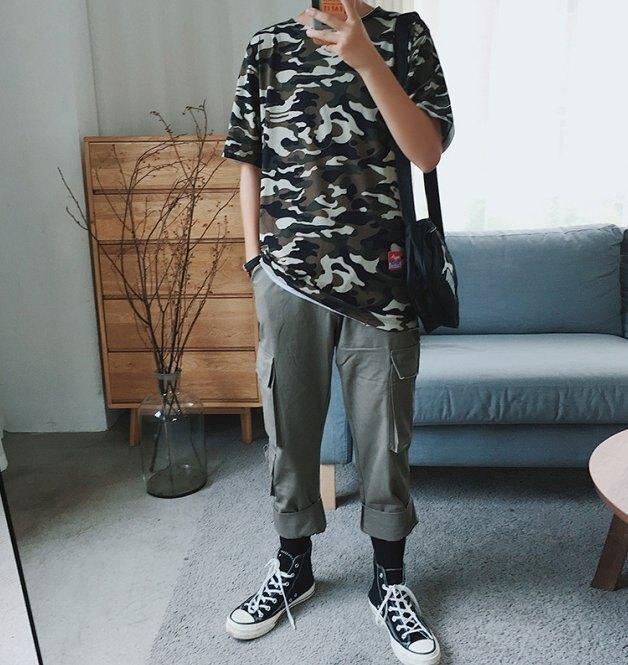 FINDSENSE H1 2018 夏季 新款 個性 迷彩大碼 寬鬆 男 假兩件五分袖 T恤 短袖 時尚 休閒 潮男上衣