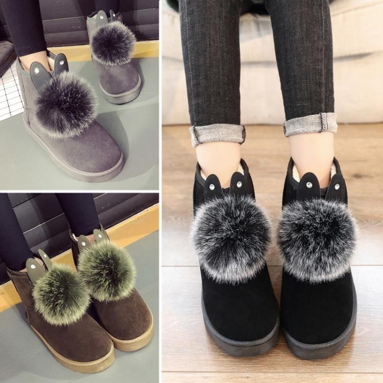 雪地靴女靴2017冬季新款兔耳朵可愛休閒加厚平底冬靴棉鞋女保暖靴 櫻桃