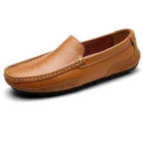 [HEHE-haha] ビジネスシューズ 紳士靴 メンズ 本革 ストレートチップ 男性ボートモカシンOXレザーパーソナリティスプライスラウンドつま先用ドライビングローファー (Color : 黄, サイズ : 24 CM)