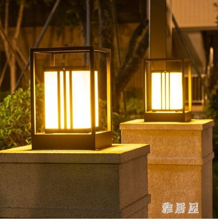 太陽能柱頭燈戶外圍墻燈花園別墅門柱燈防水室外庭院燈TA6729【雅居屋】 清涼一夏特價