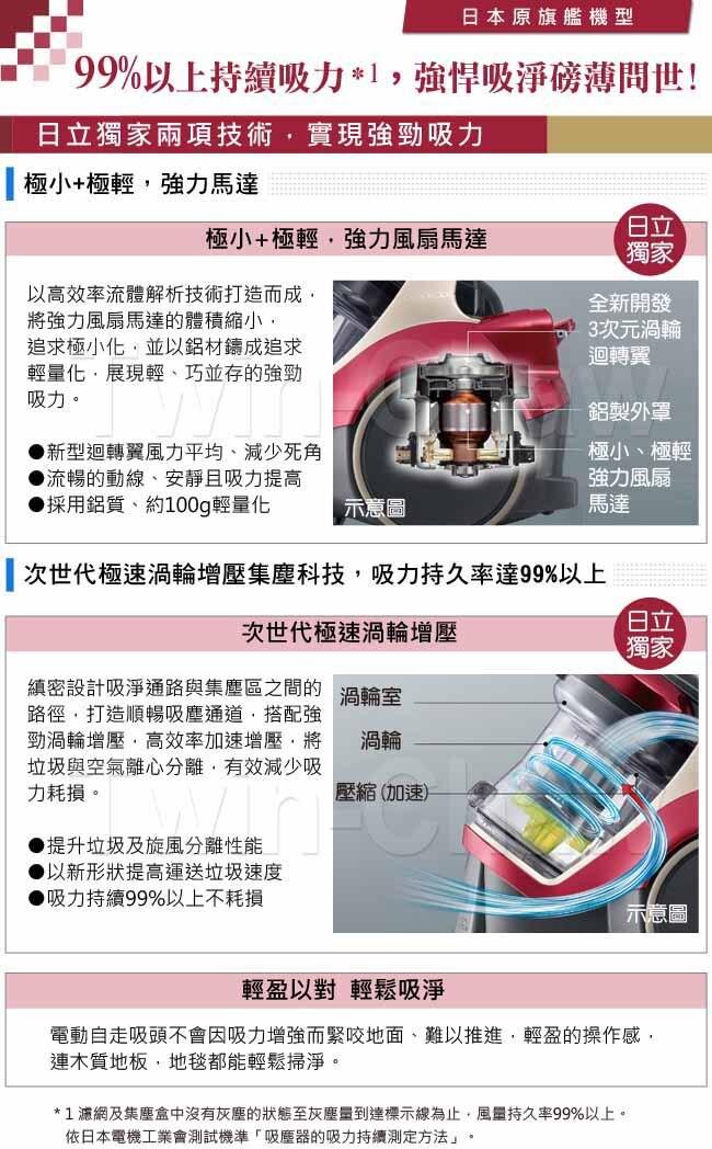 日立 HITACHI 420W 炫麗紅 紙袋型吸塵器CVSX950T ※熱線07-7428010