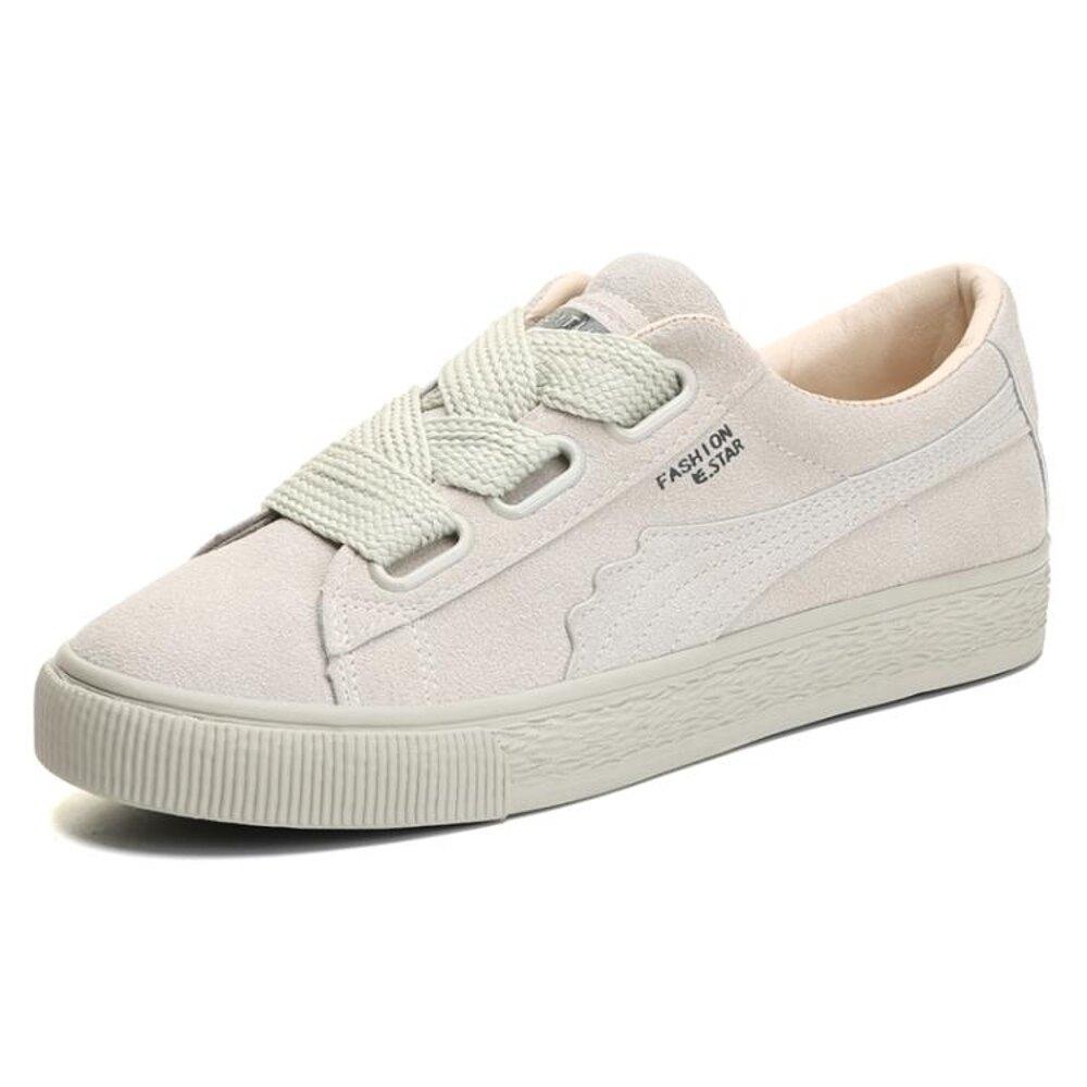 復古港風chic小白鞋女新款百搭韓版帆布鞋ins超火學生板鞋潮