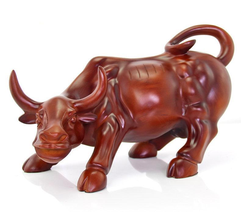 樹脂紅木旺市華爾街牛擺件 招財鎮店風水牛擺設 辦公室裝飾工藝品