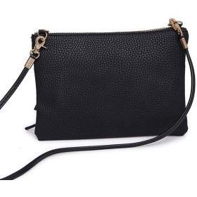 女性のためのNBOハンドバッグショルダーバッグソリッドジッパーショルダーバッグメッセンジャー電話コインバッグパッケージ#F、ブラック