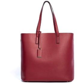 PUレザーハンドバッグ、ピュアカラー大容量ショルダーバッグ-クラシックトートバッグ、ファッショナブルな女性のクロスボディショルダートート
