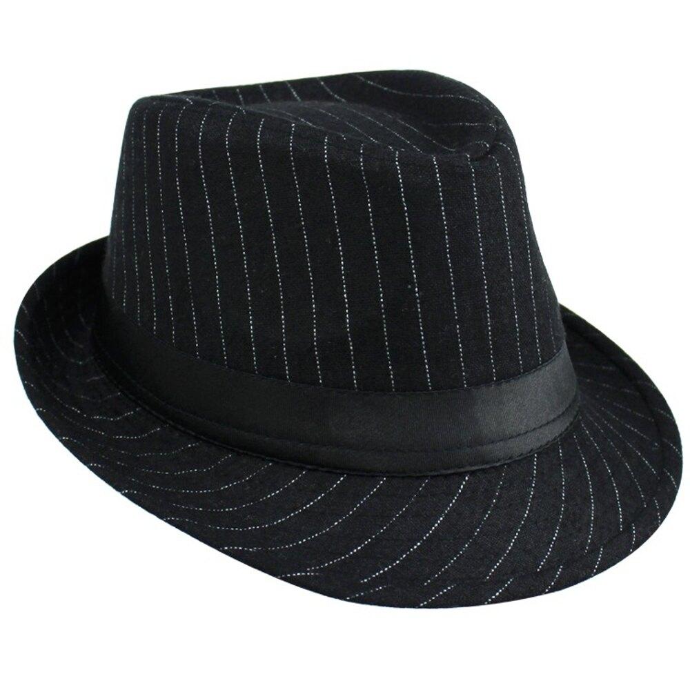 小禮帽條紋韓版時尚 男士禮帽 英倫紳士帽子女休閒爵士帽子