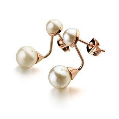玫瑰金耳環925純銀鑲鑽耳飾-別緻精巧珍珠設計情人節生日禮物女飾品2色73gs127【獨家進口】【米蘭精品】