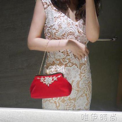 手提包 女包手拿包新款新娘包包結婚包紅時尚日韓晚宴包鍊條潮手提 唯伊時尚
