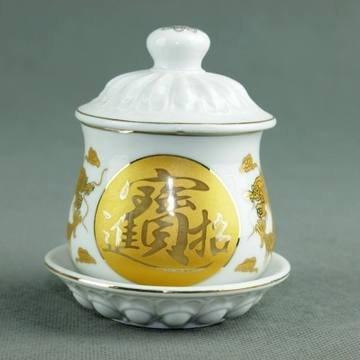 陶瓷水杯 招財進寶供水杯 供佛水杯 禮佛供奉必備佳品