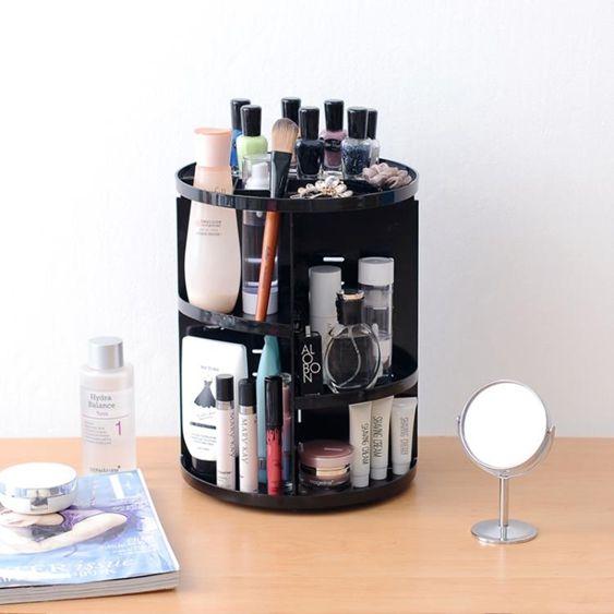 創意旋轉化妝品置物架化妝臺收納盒桌面放護膚品架子塑料收納架   LannaS