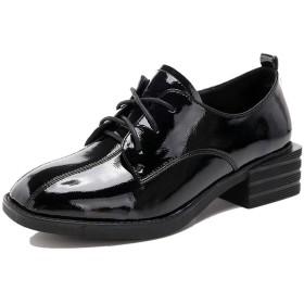 [Kanna] パンプス マニッシュシューズ レースアップシューズ おじ靴 ローヒール 3.5cm 太ヒール ホワイト 白 ブラウン ブラック 黒 22.5cm 大きいサイズ レディース靴 コスプレ 靴 レディース 太ヒール 学生 女子 ハンサムシューズ