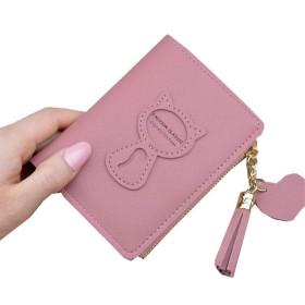 さん財布財布女子学生ミニマリストの猫のタッセルファスナー財布,ディープピンク