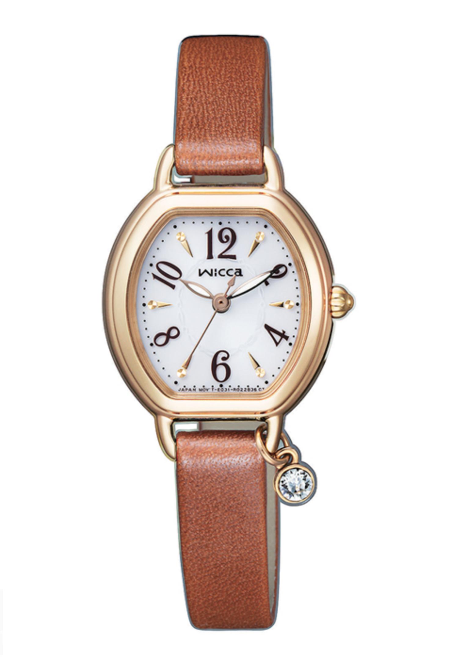 CITIZEN星辰 WICCA系列 太陽能 公主系列酒桶皮革腕錶 KP2-523-10淺棕/23.5 x 24.5mm