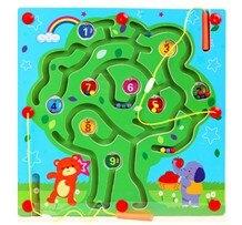 磁性運筆迷宮走珠玩具1-2-3歲寶寶益智力開發兒童早教木制飛行棋   伊卡莱生活館  聖誕節禮物
