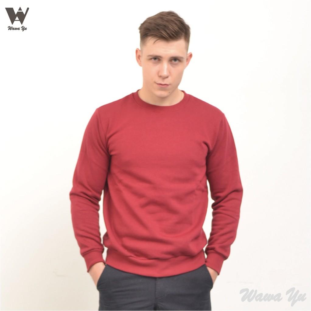 [新品]-大學T-厚棉刷毛-不起毛-長袖圓領上衣-暗紅-男版 (尺碼S-2XL) [Wawa Yu品牌服飾]