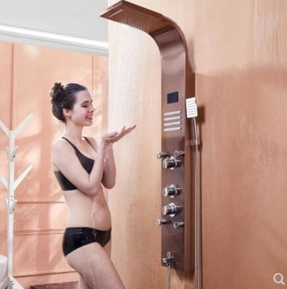 花灑 淋浴屏衛生間掛墻式水龍頭花灑套裝衛浴恒溫增壓全銅噴頭淋浴器 全館85折起 JD