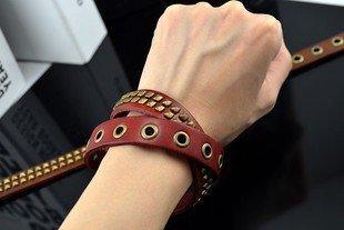 古銅金屬鉚釘金屬環男款皮革手鏈 龐克重搖滾時尚手環合金飾品