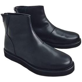 [ムリョシューズ] サイドゴアブーツ スリッポン メンズ チェルシーブーツ スエード ショートブーツ 紳士靴 フォーマル 通勤 ワークブーツ ヴィンテージ マーティンブーツ 黒/ブラック ブランド 防滑 25.5cm 軽量 ウエスタンブーツ ハイカット