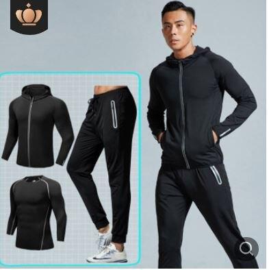 美琪 反光透氣運健身服三件套秋冬季男速乾套裝長袖緊身衣動服彈力訓練