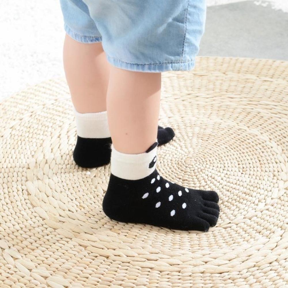 五指襪 春秋卡通純棉兒童五指襪短中筒 潮童男女孩子矯正腳趾襪子 5雙入 BBJH
