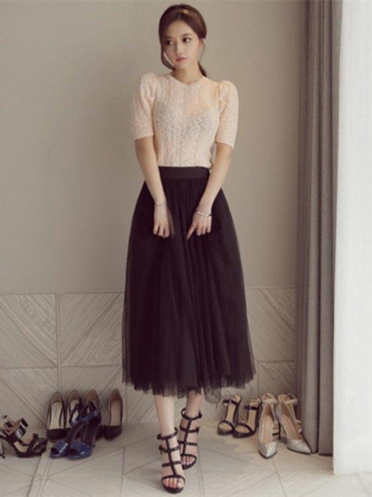 超火的半身裙紗裙學生秋冬百褶仙女中長高腰長裙夏裙子網紗裙  夏洛特居家名品