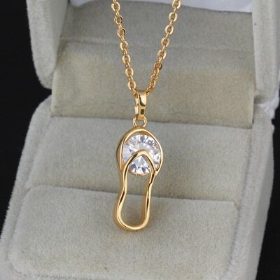 純銀項鍊 鍍18K金鑲鑽吊墜-獨特彎曲設計時尚情人節生日禮物女飾品73cu197【獨家進口】【米蘭精品】