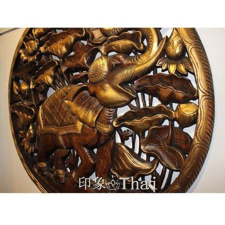 木雕板 工藝品 柚木小象圓形雕花板 家居裝飾品 木雕大象