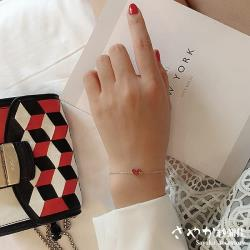 【Sayaka紗彌佳】A heart of JAPAN正中紅心單鑽項鍊/手鍊-手鍊款