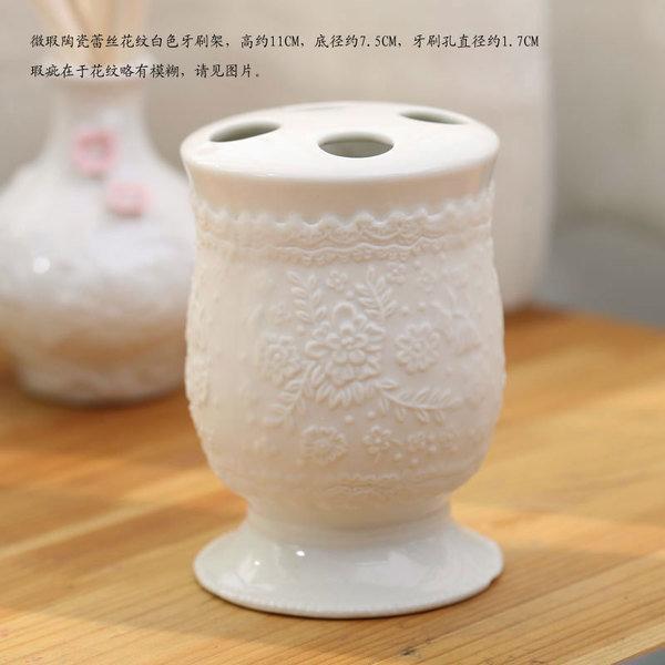 單品陶瓷出口同步陶瓷牙刷架牙具座牙膏架牙刷座牙膏座牙刷筒可選(圖一)