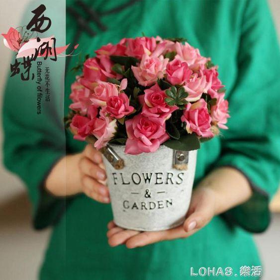 美式鐵藝插花假花裝飾花模擬花套裝幹花客廳裝飾品餐桌盆栽擺件
