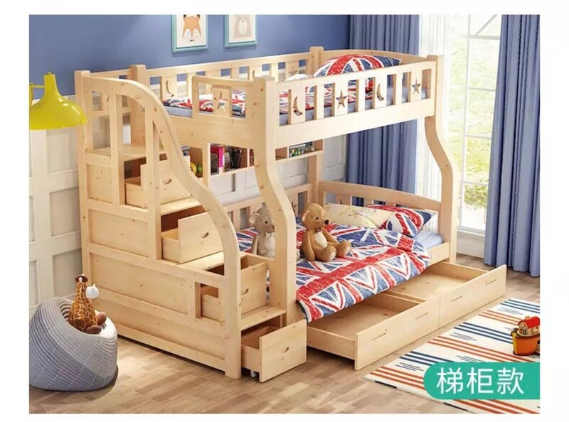 「免運免安裝」全新兒童實木雙層床  上下床 梯櫃款(小蘋果家具)1910
